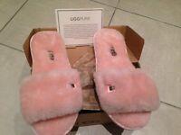 Ladies Pink Fluffy Australian Designer Inspired Slippers Size 6 - Unworn still boxed