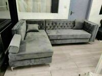 🔵💖🔴It is clearance time🔵💖🔴Florence sofa-plush velvet left/right hand corner sofa-in grey color
