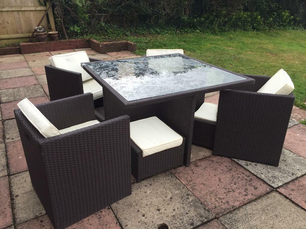 Garden Furniture Rattan Cube Set 9 Piece Patio Table And Chairs