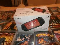 SONY PSP (STREET) EDITION WITH OVER 30 GAMES AND FILMS. BOXED. ADULT OWNER.