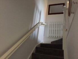 white stair rail