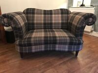 Moray check cuddler sofa - brilliant condition with two large cushions