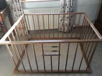 Traditional wooden folding playpen. 4ftx3ft. Circa 1950-60s