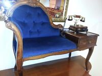 beautiful italian telephone chair with antique telephone. excellent condition.