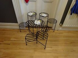 GET READY FOR SPRING- Set of 3 black metal plant stands- Unused- Will Hold 9 Plants