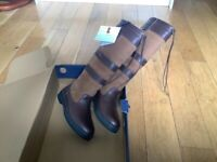 New Galway dubarry brown size 5 long boots
