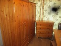 Wardrobes, 2 Solid Pine wardrobes with Chest of solid pine drawers all in VGC..