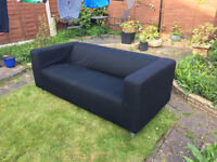 Ikea Klippan 2 Seater Sofa with Black Cover
