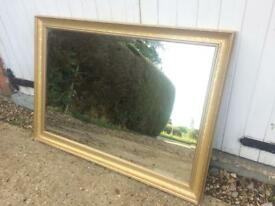 Large mirror bevelled edge gold framed overmantel mirror