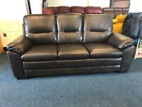 HARVEYS BROWN LEATHER 3 AND 3 SEATER SOFA SET CHOCOLATE THREE PLUS 6 FREE DELIVERY CHEAP NEW COUCH