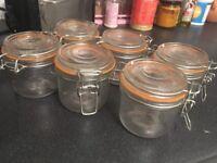 6 x glass preserve jars 200ml