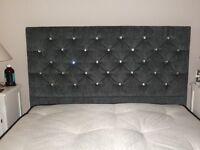 ALMOST BRAND NEW, DOUBLE BED (4Ft 6 ) WITH DIAMOND EFFECT HEADBOARD