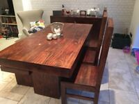 Dining table with 3 chairs and bench. Matching sideboard/dresser