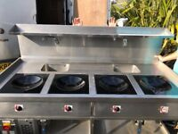 Stainless steel Commercial 4 plate Chinese wok burner