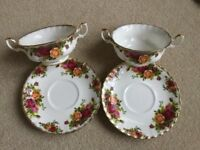 ROYAL ALBERT OLD COUNTRY ROSES CHINA TWO SOUP BOWLS WITH SAUCERS