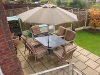 Luxury Patio set complete with Cushions and Parasol