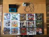 3DS Aqua with 15 games inc. Pokémon X, Monster Hunter, Fire Emblem