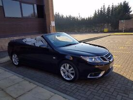 2007 SAAB 9-3 AERO 2.8 V6 CONVERTIBLE S-A BLACK/SAT NAV/ BLUETOOTH/HEATED SEATS