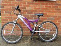 "Young Ladies Mountain Bike, 24"" wheel, 18 speed."