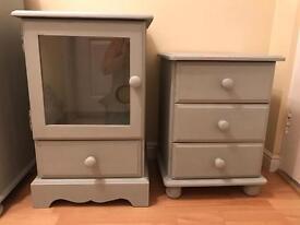 paris grey cupboard and bedside solid pine