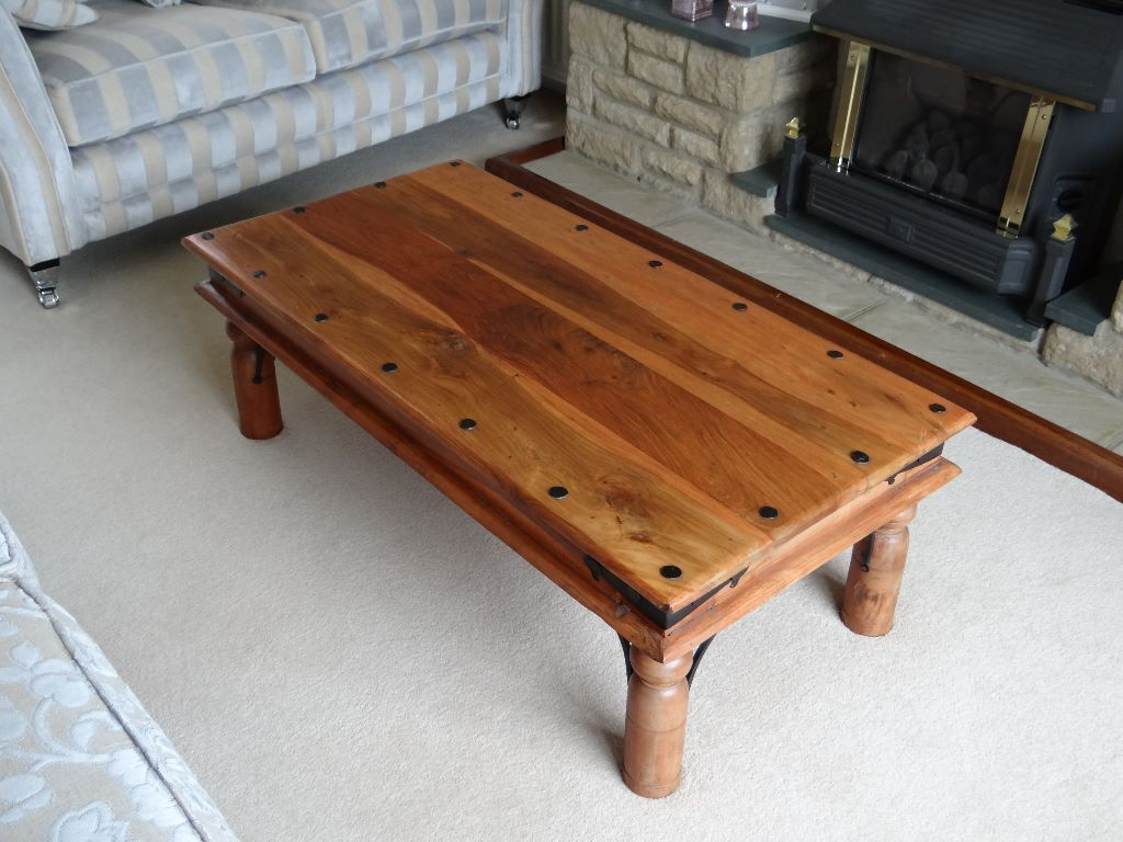 Indian wood coffee table lamp table and small chest