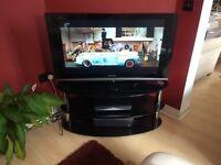 Serano Tempered Black Glass & Chrome Oval 3 Tier TV Stand