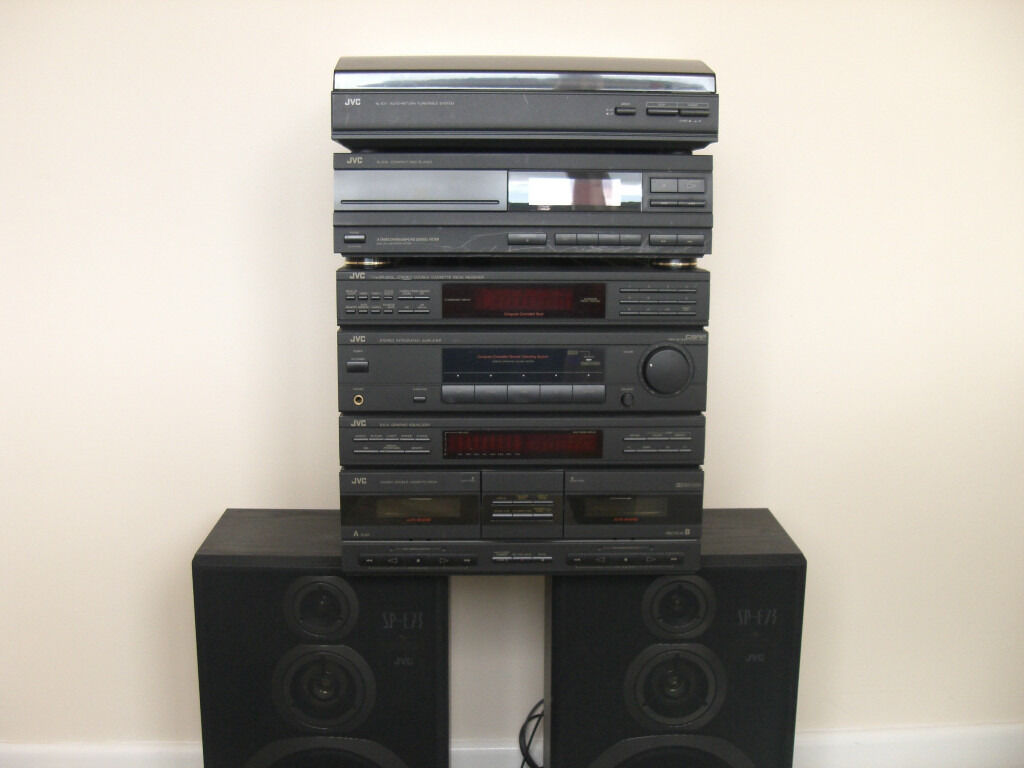 jvc hifi stereo system with turntable cd player double. Black Bedroom Furniture Sets. Home Design Ideas