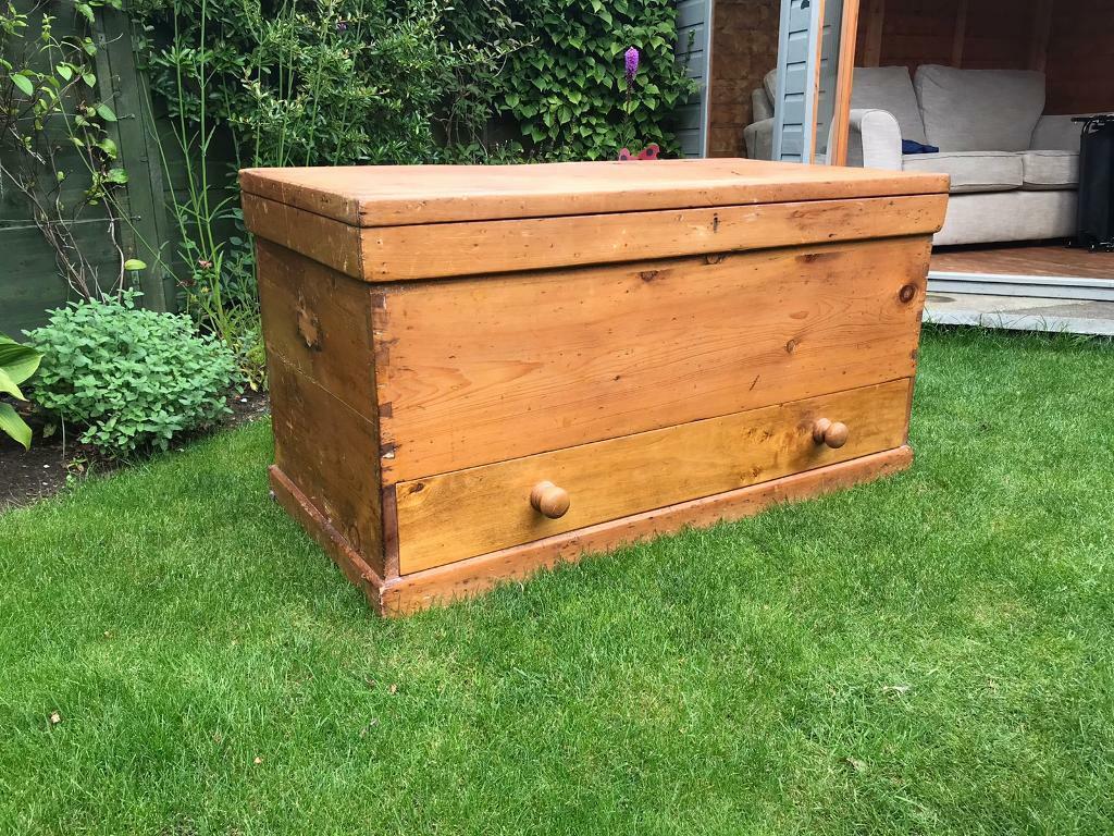 HUGE Victorian pine kist chest blanket box wooden trunk ...