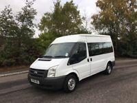 2011 reg Ford Transit 2.2 tdci minibus 12 seater low miles only 60k 6 speed NO VAT
