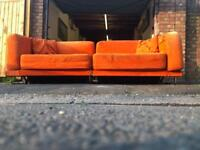 Vintage retro style orange sofa bed chrome stainless steel frame