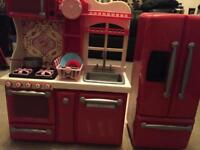 Kids toy kitchen with fridge and accessories