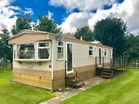 Static caravan for sale with decking cheap site fees Dunbar east coast Scotland