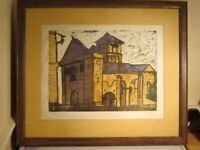 Avril Moore (Coventry) framed original Lino Print of a French Church Dated 1995