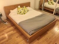 Double Bed & Mattress - Ikea Malm Oak Queen £50/ono