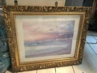 b21ece72162 Vintage style gold framed beach picture