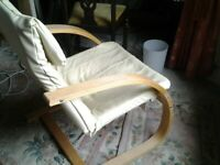 Chair, Ikea, wood and leather. Good condition.