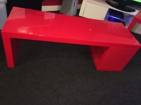 Red ikea lack tv bench and side table