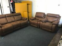 HARVEY BROWN TAN SUEDE FABRIC THREE PIECE SUITE THREE SEATER SOFA 2 ELECTRIC POWER RECLINER ARMCHAIR