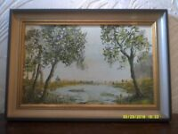 Vintage Oil painting signed Fred Vize of country scene with trees & pond