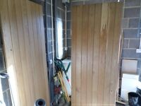 3 Solid Oak internal doors with strap hinges and latches.