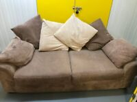 One large brown sofas. Deliveries are also available