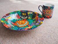 Vintage 1990's Child's bowl and mug hand painted jungle animals + Thomas XMAS PRESENT