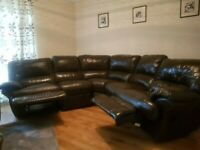 HARVEYS BROWN LEATHER CORNER RECLINER SOFA - MUST GO TODAY TODAY - CHEAP DELIVERY - £475