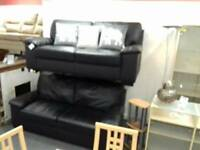 2 x 2 seater sofa leather BHF Glasgow