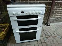 Indesit 60cm double gas cooker kd6g25w