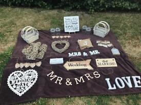 Assorted Rustic Wedding Decorations