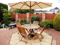 ALEXANDER ROSE SOLID HARDWOOD PATIO TABLE/4 CHAIRS/PARASOL/CUSHIONS/ACCESSORIES