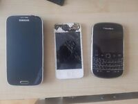 Samsung Galaxy k zoom, Iphone and Blackberry Bold