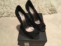 Phase Eight Lace Peep Black Shoes, Size 4