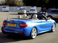 BMW 2 SERIES 218i M SPORT 2dr Convertible Auto *Sat Nav & Leather* (blue) 2016